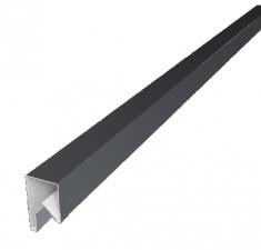 Планка П-образная заборная 17 0,45 PE с пленкой RAL 9006