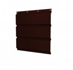Софит металлический центральная перфорация 0,5 GreenCoat Pural Matt с пленкой RR 32 темно-коричневый (RAL 8019 серо-коричневый)