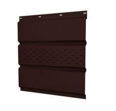 Софит металлический центральная перфорация 0,5 GreenCoat Pural Matt с пленкой RR 887 шоколадно-коричневый (RAL 8017 шоколад)